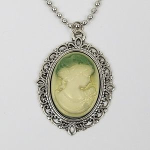 Jewelry - Vintage Look Cameo GREEN IVORY Pendant Necklace